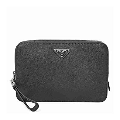 Prada Zipped Leather Clutch in Black