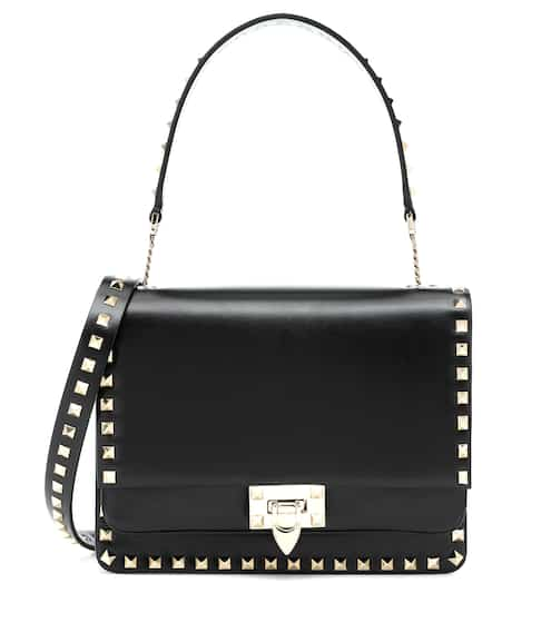 Valentino Garavani Rockstud Leather Clutch in Black