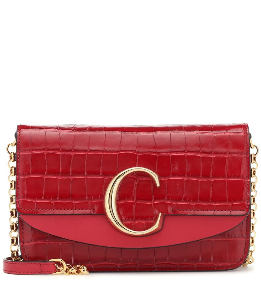 Chloe C Croc-Effect Clutch